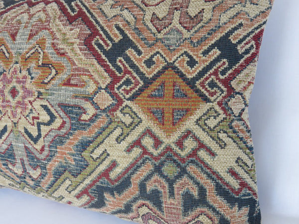 southwest chenille tapestry pillow in denim blue, orange, red, beige