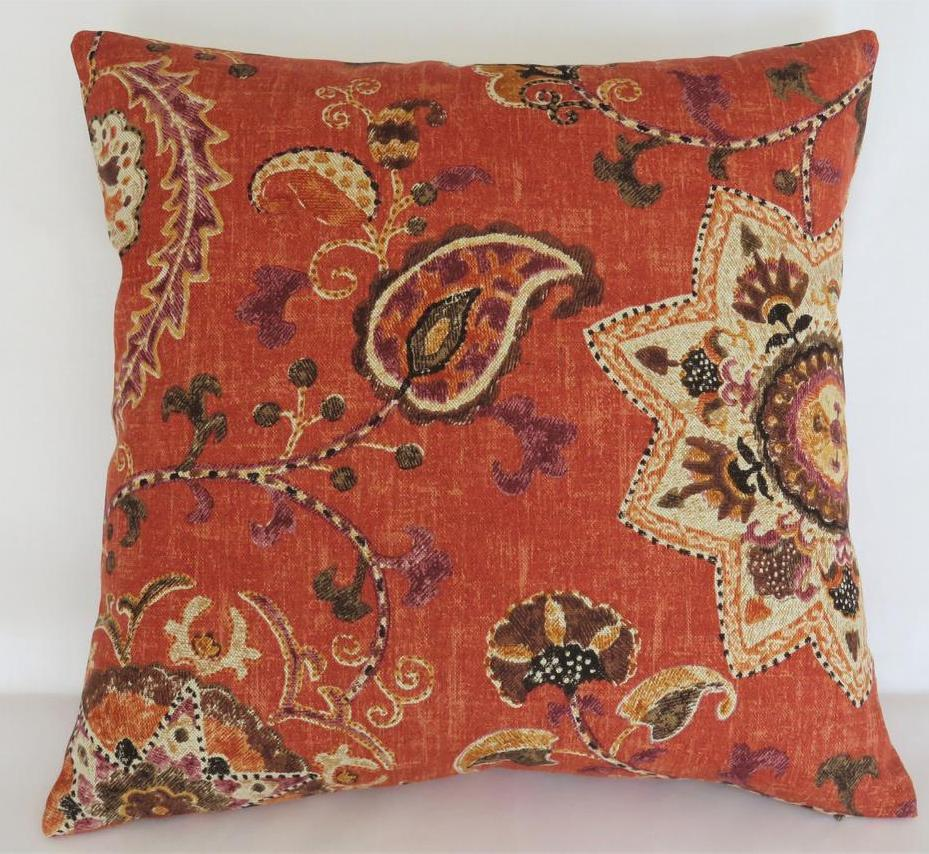 rusty orange suzani pillow kaufmann soumak persimmon fabric