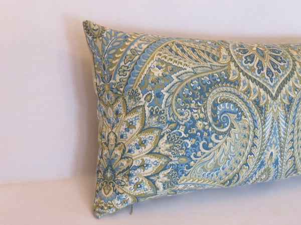 waverly swept away lumbar pillow in porcelain blue paisley