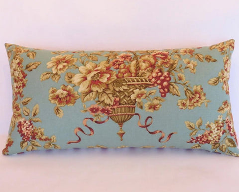 aqua, gold, and berry hanging basket lumbar pillow, waverly rendezvous in robins egg