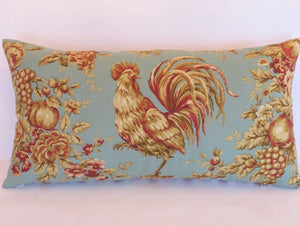 aqua and gold rooster pillow of Waverly Rendezvous in robins egg blue