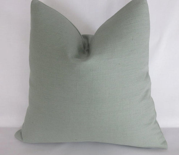 "perfect aqua blue linen pillow 17"" solid teal, robins egg or spa"