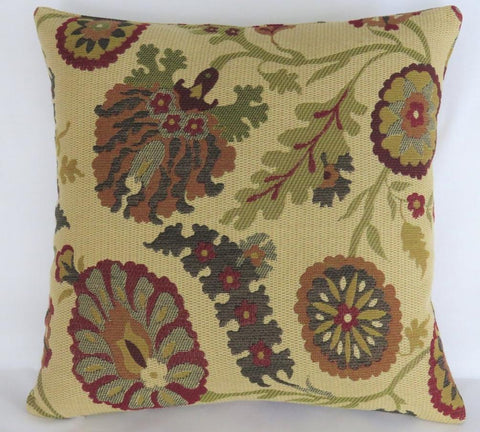Indienne floral tapestry pillow in beige, red, green, blue