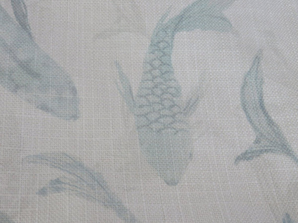 pale aqua koi fish pillow, blue and cream watercolor