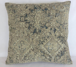 blue and taupe chenille medallion pillow