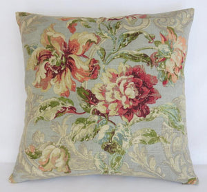 Spa blue distressed fresco floral with terracotta and burgundy