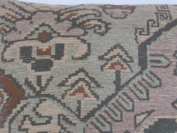 rust green tan southwest pillow, kilim carpet style chenille