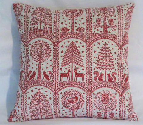 Red Woodland Animals Christmas Pillow Cover with Squirrels, Foxes, Hedgehogs