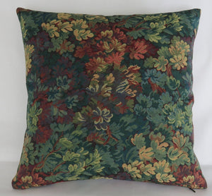 Verdure Leaves tapestry pillow cover green red gold vintage look