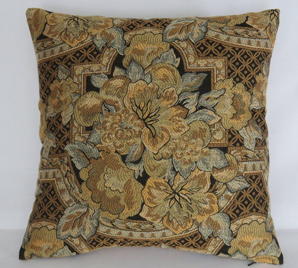 gold floral brocade pillow cover art nouveau or deco lily with black, grey, bronze