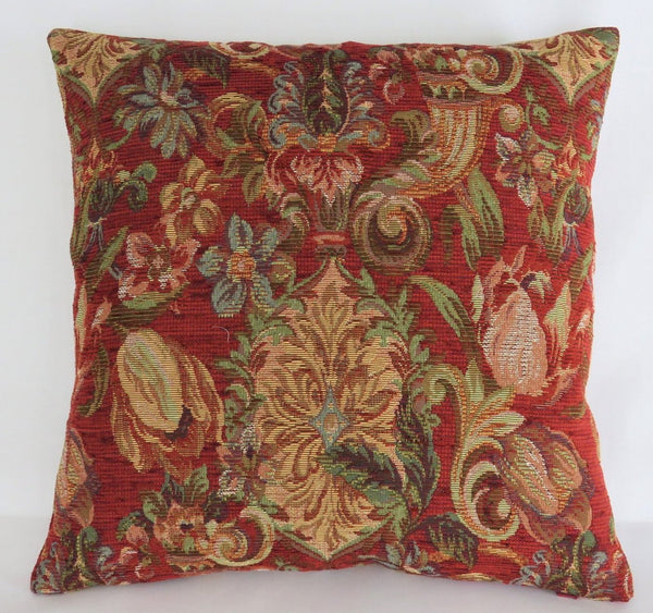 red and gold floral chenille tapestry