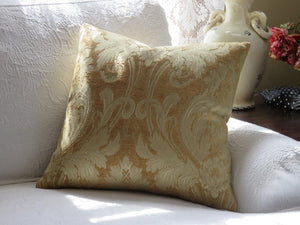 Gold Chenille Damask Pillow Cover