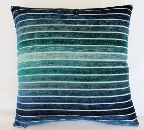Blue green ombre chenille pillow cover