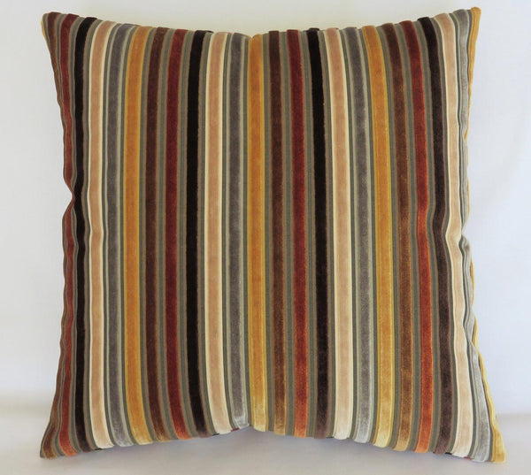 Gold Brown Rust Stripe Velvet Pillow Cover