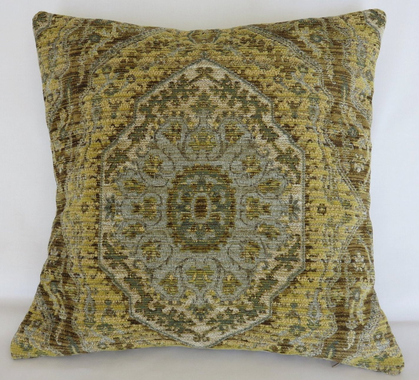 Yellow Brown Blue Medallion Chenille Pillow Cover