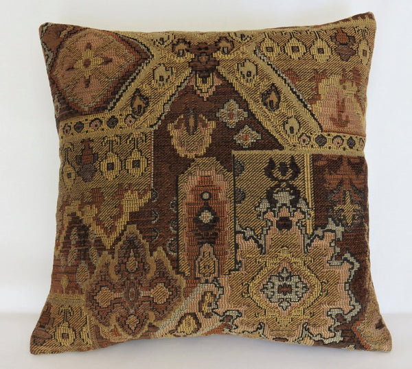 Southwest Pillow Cover in Brown, Tan, Rust tones, Kilim Carpet Style