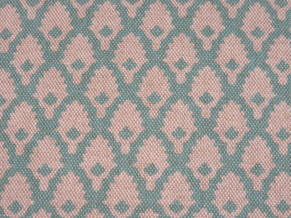 turquoise and beige mini print pillow cover of Lacefield calais
