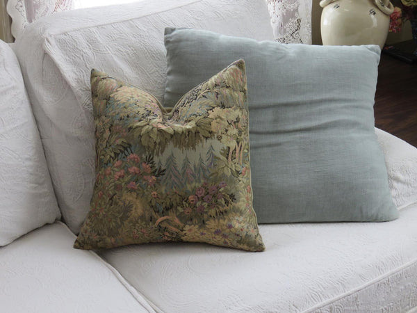 fantasy garden tapestry pillow in green, gold, pink, blue