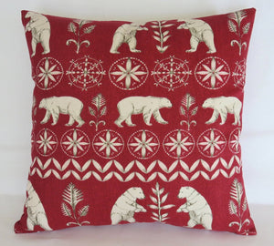 red and white polar bear pillow cover winter christmas decor