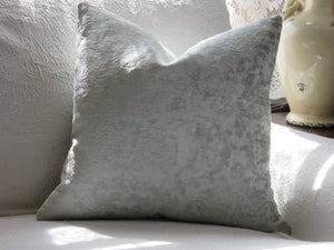 Pale Aqua Chenille Pillow Cover, Velvet Textured Damask