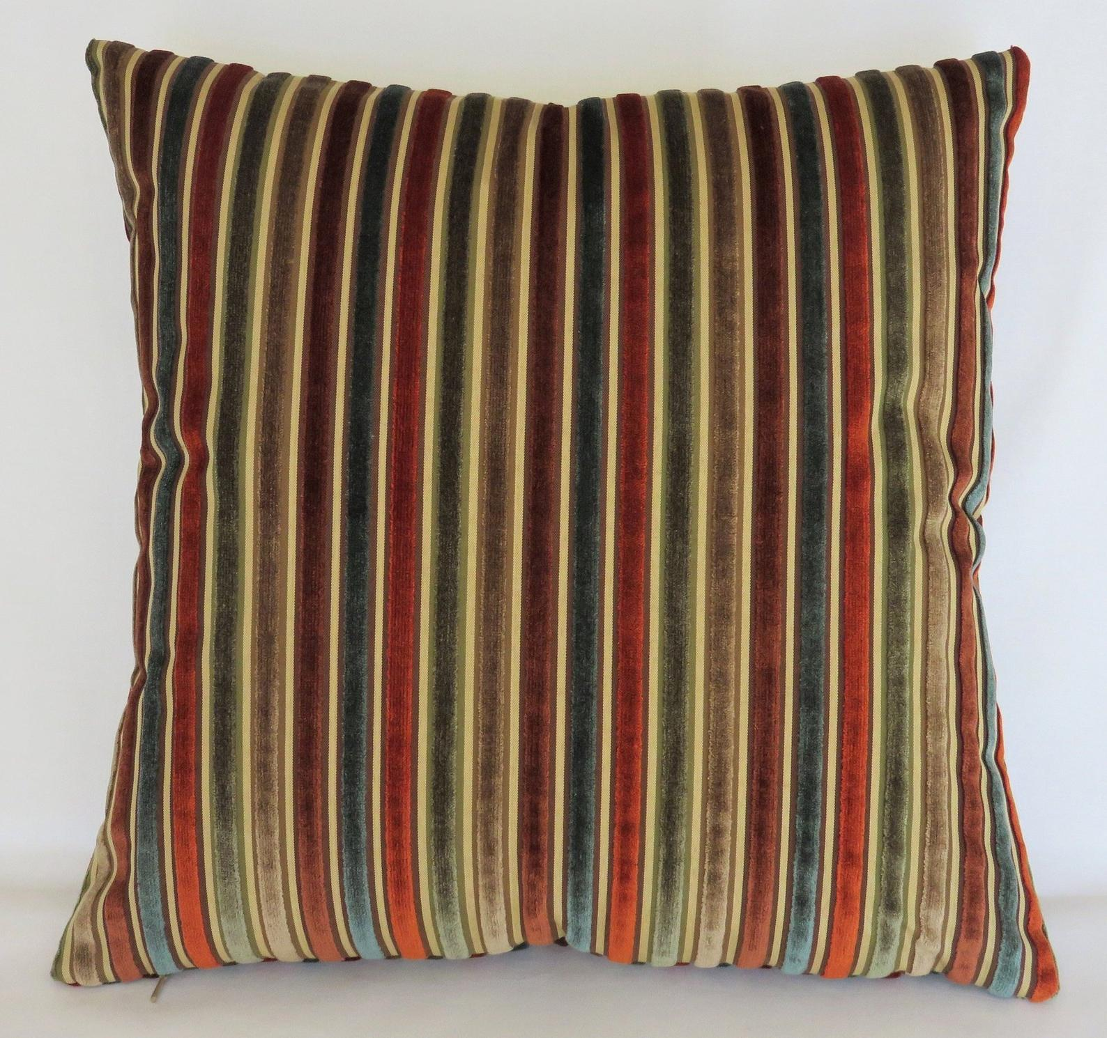 Teal Rust Olive Stripe Velvet Pillow Cover