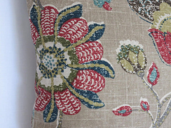 Tan Teal Red floral pillow - Robert Allen Spring Mix