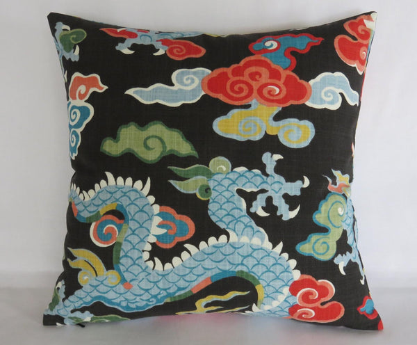dragon pillow cover, colorful asian accent on black
