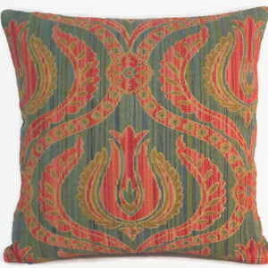 orange turquoise floral medallion pillow cover