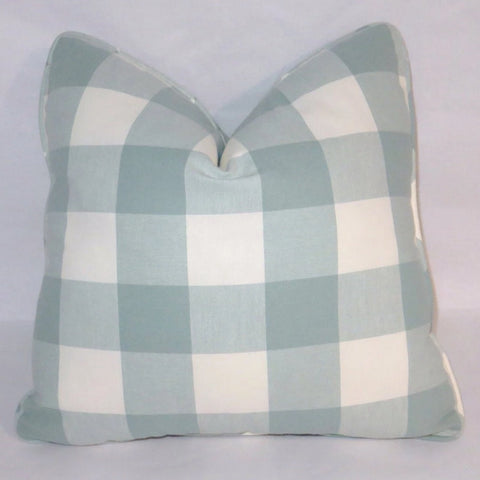 Aqua &  Ivory buffalo check plaid pillow cover