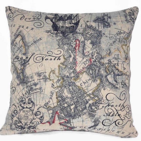 Indigo map print pillow cover, Vintage  nautical globe