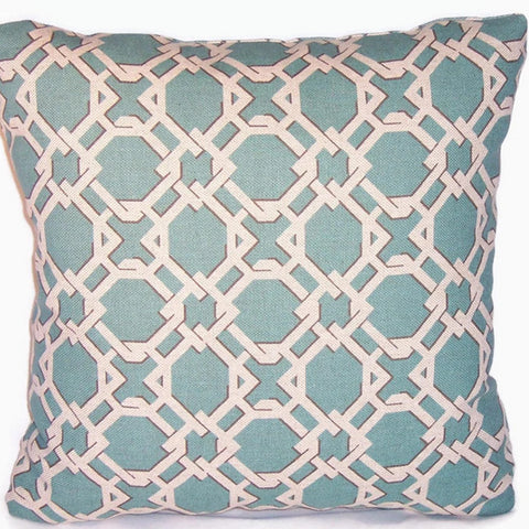 turquoise linen blend basket weave pillow cover, Lacefield