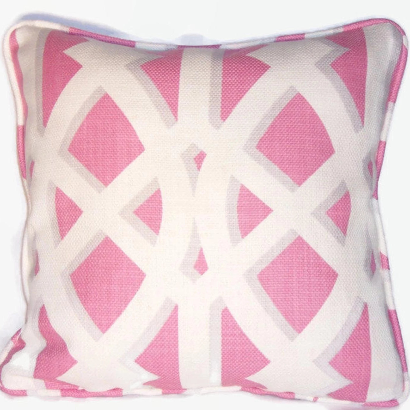 Pink and White trellis pillow cover