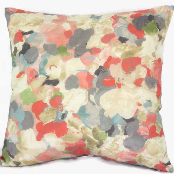 coral teal grey watercolor floral pillow cover