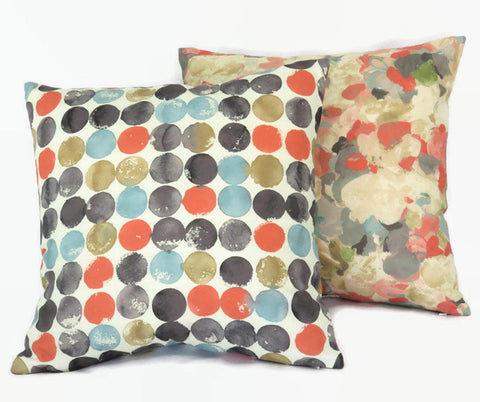 reversible dot and floral pillow cover - orange aqua grey
