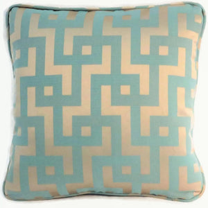 Aqua and gold satin maze pillow cover