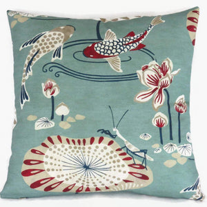 Aqua Koi Pond Pillow Cover, Lily Pads, Flowers, Fish in Medium Teal