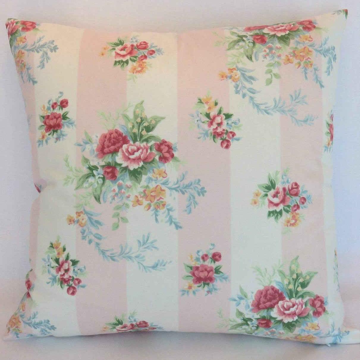 Pale Pink Floral Stripe Pillow Cover