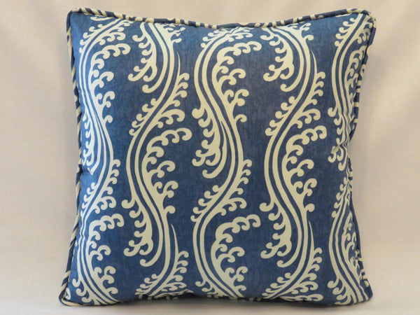Indigo chintz welted pillow cover Waverly turning tides blue