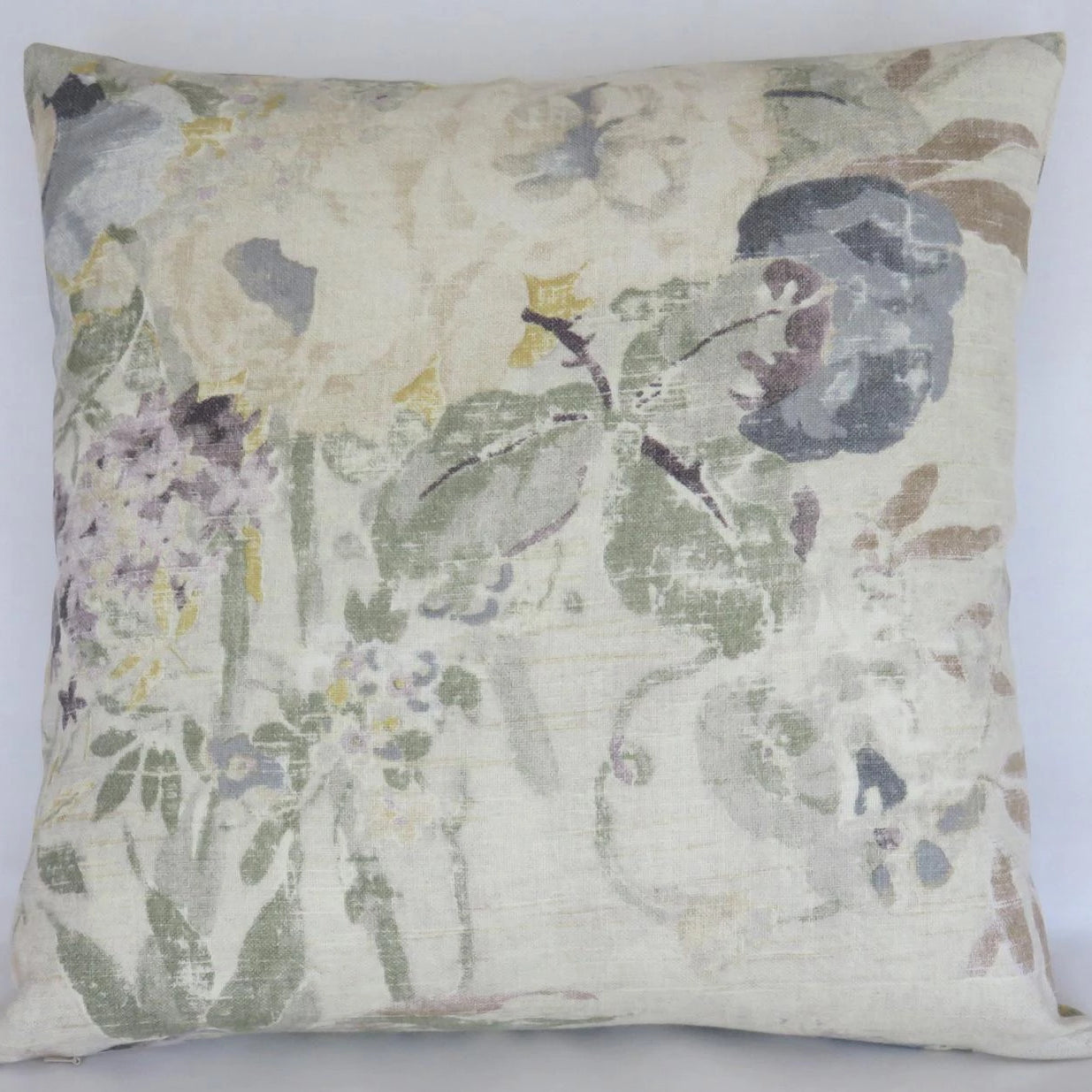grey purple yellow floral pillow cover, Kaufmann Lisette Pearl