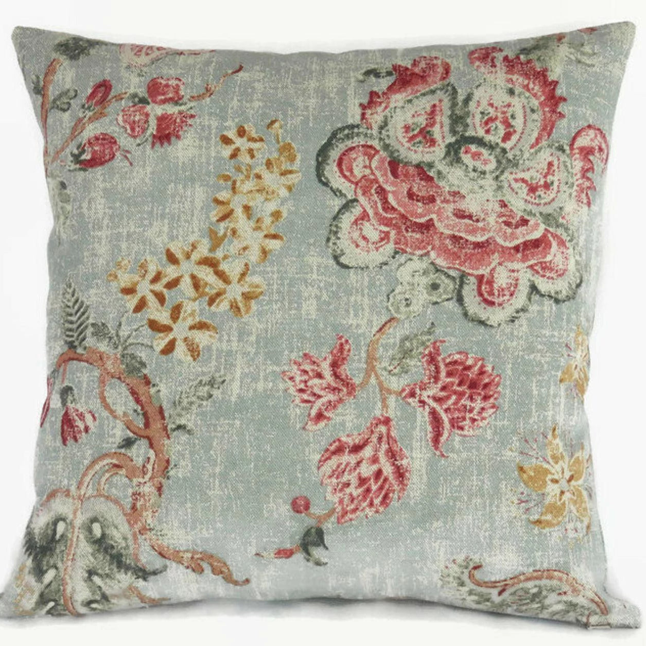 Blue and Red Floral Pillow,  P. Kaufmann Majestic Fabric in Chianti