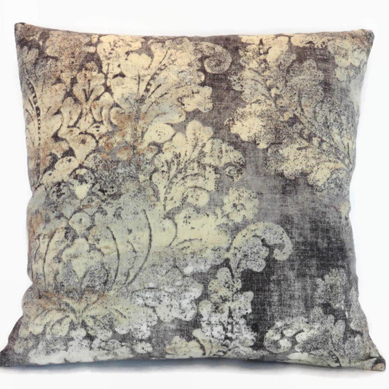 Grey Damask Medallion Pillow Cover, Linen Blend, Covington Firenza
