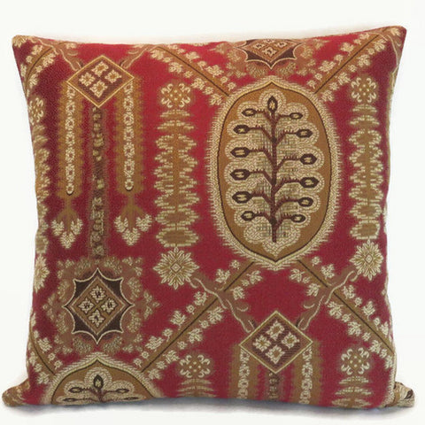 Red Art Deco Brocade Pillow Cover, Vintage Look Medallion
