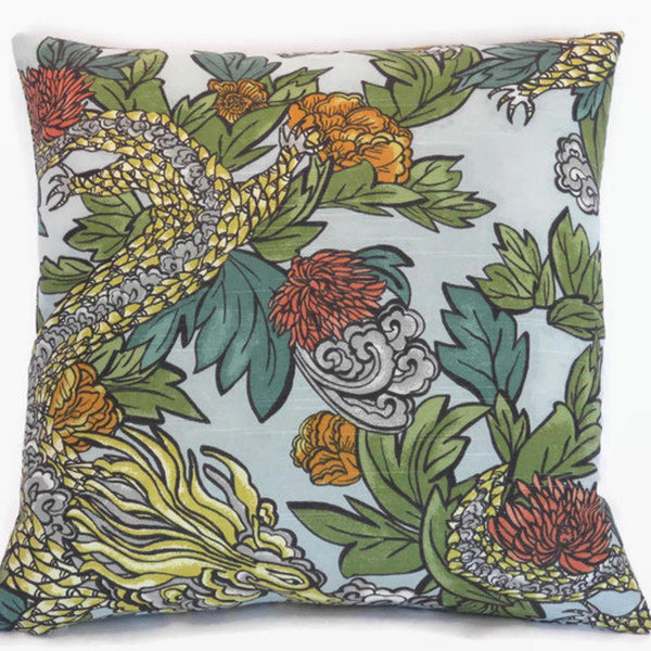 Dragon Tattoo Throw Pillow Cover, Dwell Studio Ming Dragon in Aqua