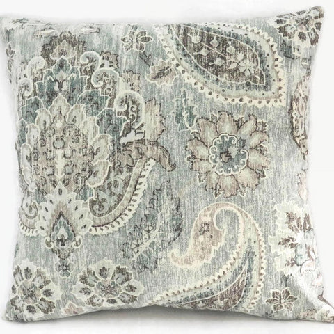 teal paisley pillow cover Kaufmann PLazzo Geyer