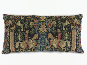 medieval tapestry lumbar pillow cover with horsemen