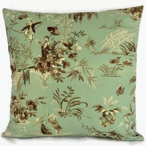 Waverly Polynesian Swing Pillow Cover, Scenic Print in Sea Green