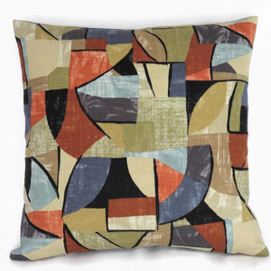 cubism print pillow cover in tan, orange, blue, grey Pablo
