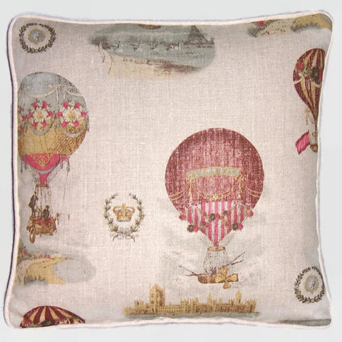 Hot air balloon pillow cover, vintage look print on linen