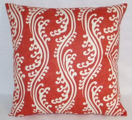 Red waverly waves pillow