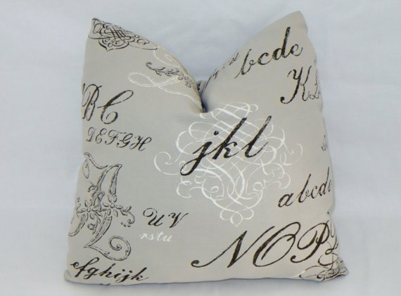 light gray kaufmann ABC pillow